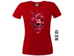 Červené dámské levné tričko s lebkou v srdci