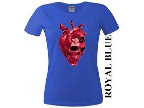 Modré dámské levné tričko s lebkou v srdci