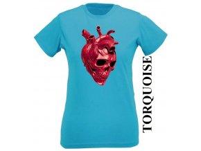 Tyrkysové dámské levné tričko s lebkou v srdci