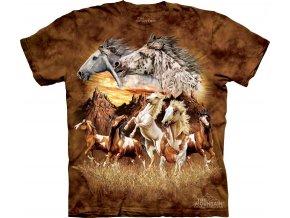 tričko, koně, mustang, potisk, batikované, mountain