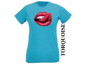 Tyrkysové dámské levné tričko s jahodou a rty