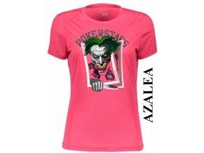 Azalkově červené dámské levné tričko s pokerovým Jokerem