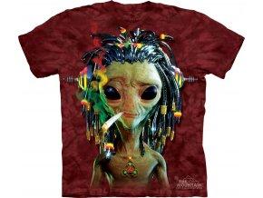 tričko, mimozemšťan, jamajka, joint, potisk, batikované