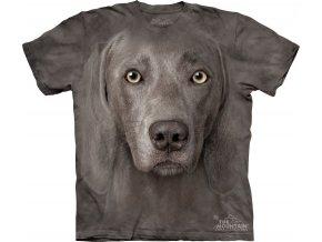 tričko, pes, 3d, batikované, potisk, výmarský ohař
