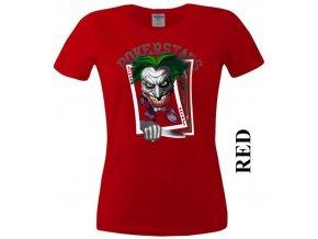 Červené dámské levné tričko s pokerovým Jokerem
