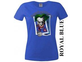 Modré dámské levné tričko s pokerovým Jokerem