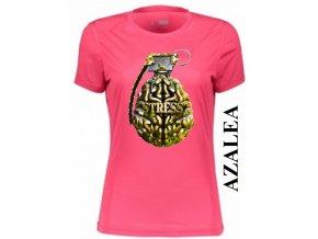 Azalkově červené dámské levné vtipné tričko s mozkem a granátem