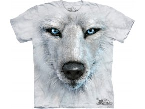 Tričko-bílý vlk-3d-potisk-batikované