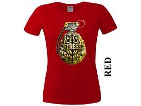 Červené dámské levné vtipné tričko s mozkem a granátem