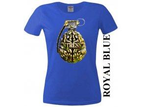 Modré dámské levné vtipné tričko s mozkem a granátem