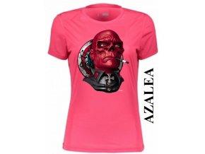 Azalkově červené dámské levné tričko s Red Skull
