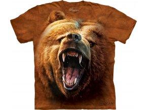 tričko, medvěd, grizzly, batikované, potisk, mountain