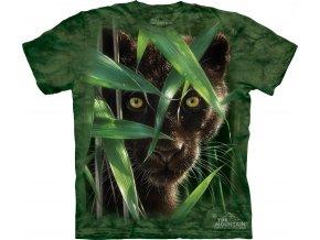 Tričko, černá puma, džungle, potisk, batikované, mountain