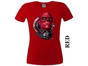 Červené dámské levné tričko s Red Skull