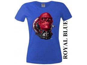 Modré dámské levné tričko s Red Skull