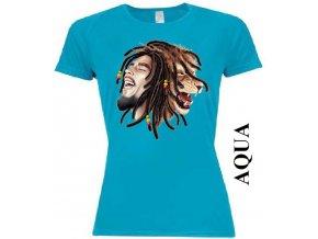 Dámské reggae tričko s potiskem Boba Marleyho a lva
