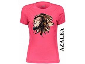 Azalkově červené dámské levné tričko se lvem a Bobem Marleyem