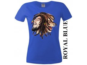 Modré dámské levné tričko se lvem a Bobem Marleyem