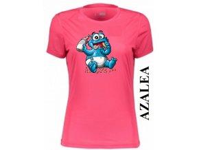 Azalkově červené dámské levné tričko s Cookie Monster