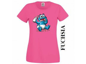 Tmavě růžové dámské levné tričko s Cookie Monster