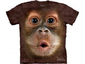 tričko-opice-mladý orangutan-potisk-batikované-3d