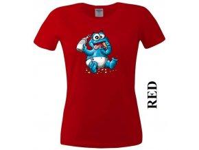 Červené dámské levné tričko s Cookie Monster