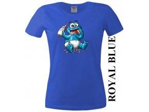 Modré dámské levné tričko s Cookie Monster