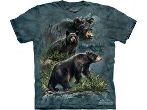 tričko, tři medvědi, černý medvěd, batikované, potisk, mountain