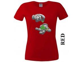 Červené dámské levné tričko s jointem