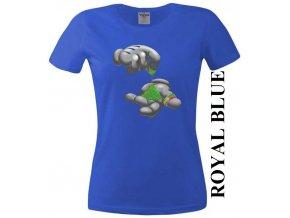 Modré dámské levné tričko s jointem