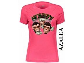 Azalkově červené dámské levné tričko s opicí a dolary