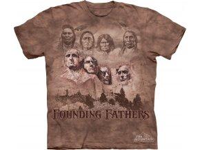 tričko, náčelník, prezident, batikované, potisk, indiánské
