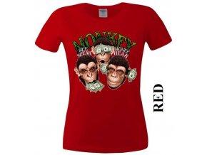 Červené dámské levné tričko s opicí a dolary