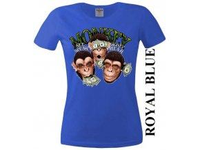 Modré dámské levné tričko s opicí a dolary