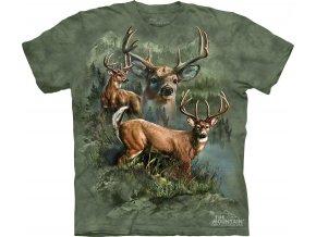 tričko, jeleni, myslivecké, potisk, batikované, zelené