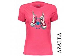 Azalkově červené dámské levné tričko s teniskami Converse
