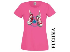 Tmavě růžové dámské levné tričko s teniskami Converse