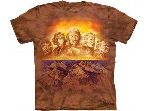 tričko, indiánské, náčelníci, batikované, potisk, mountain