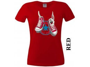 Červené dámské levné tričko s teniskami Converse