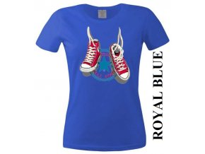 Modré dámské levné tričko s teniskami Converse