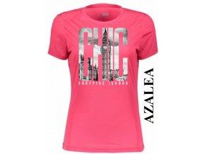 Azalkově červené dámské levné tričko s Londýnem