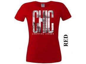 Červené dámské levné tričko s Londýnem