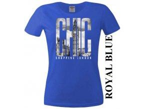 Modré dámské levné tričko s Londýnem
