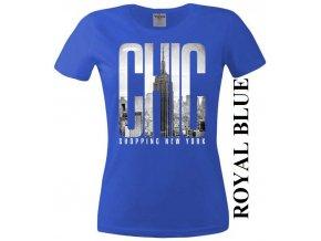 Modré dámské levné tričko s New Yorkem