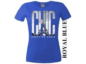 Modré dámské levné tričko s Paříží