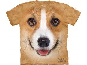 tričko-pes-welsh corgi-batikované-potisk-3d