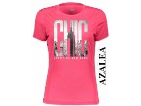 Azalkově červené dámské levné tričko s New Yorkem