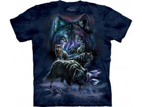 tričko, vlci, smečka, batikované, potisk, mountain