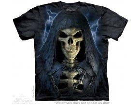 tričko, smrt, lebka, batikované, potisk, řetěz