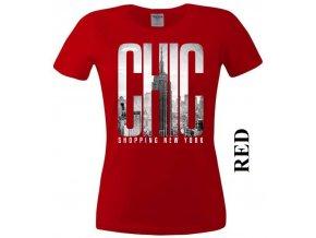 Červené dámské levné tričko s New Yorkem